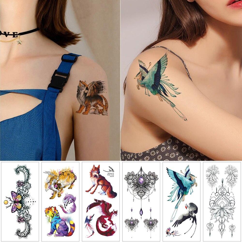Small temporary tattoo stickers Flower woman fake jewelry Waterproof tattoos Cartoon fox tiger Woman child body sticker tattoo