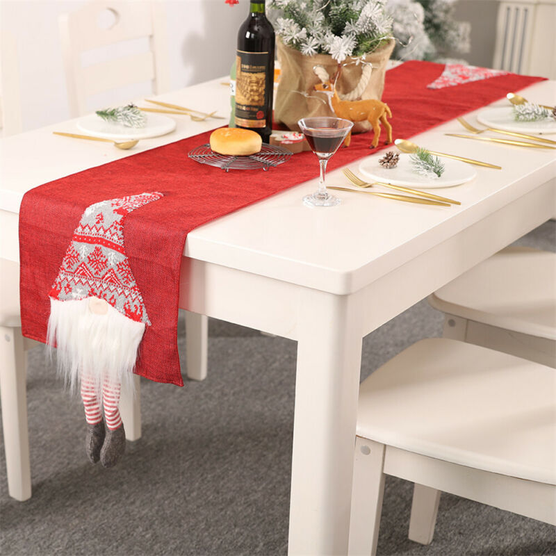 1Pcs Christmas Tablecloth Santa Claus Table Runner Hotel Banquet Table Flag For Wedding Party Christmas Festival Home Decoration