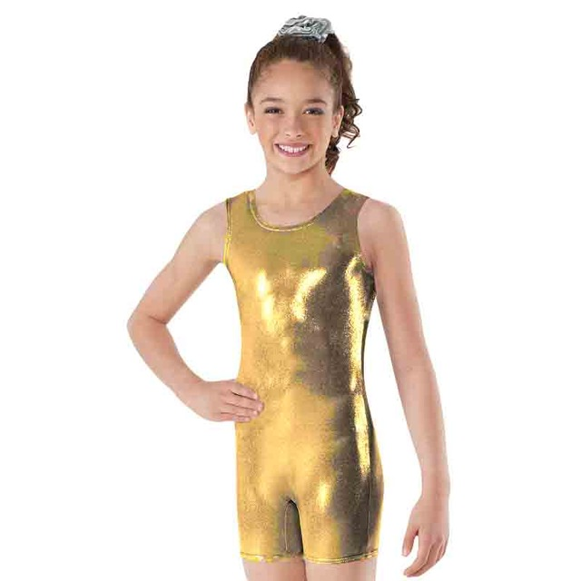 Women/'s Metallic Spandex Tank Biketard Sleeveless Short Unitard Dance Bodysuit