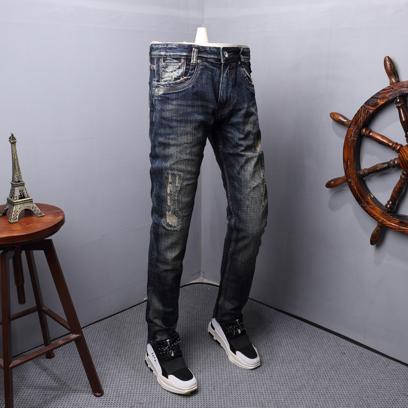 Fashion Streetwear Men Jeans Retro Wash Ripped Jeans Men Denim Pants High Quality Italian Style Patchwork Vintage Designer Jeans