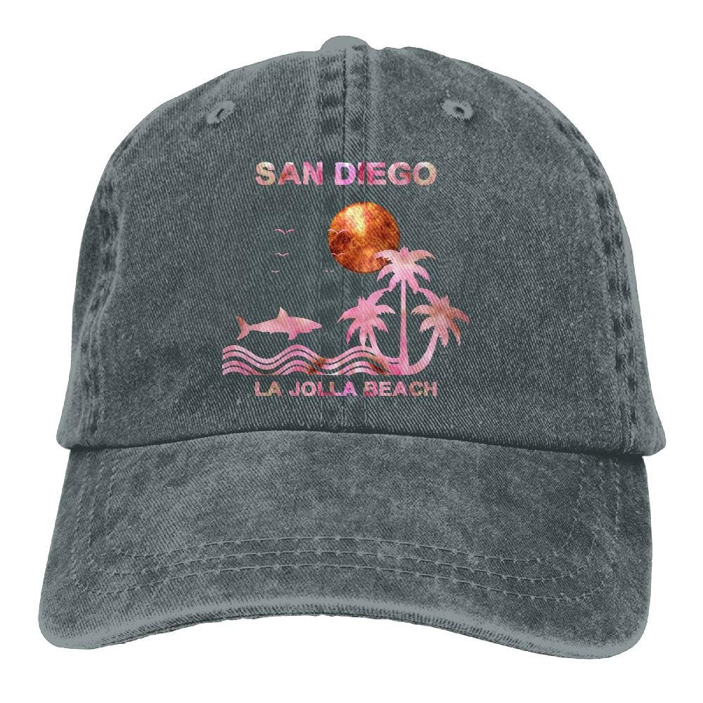 Surfing in La Jolla Beach San Diego Low Profile Washed Dyed Hats Baseball Caps Adjustable