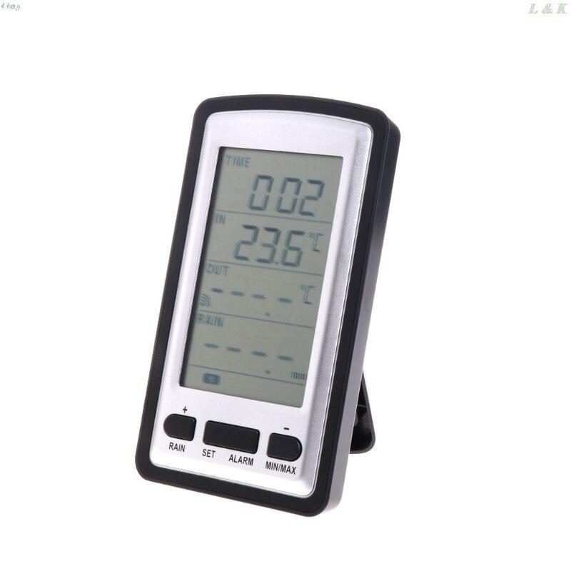 Wireless Rain Meter Gauge Weather Station indoor/outdoor temperature Recorder   M13 dropship L29K