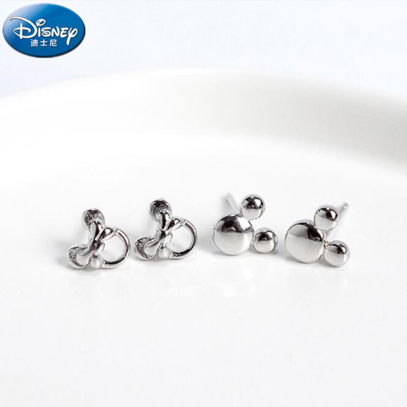 Disney S925 Pure Silver Earrings Pearl Mickey Earrings Mickey Mouse Earrings Cartoon Earrings Simple Anti Allergy Girl Toy Gift