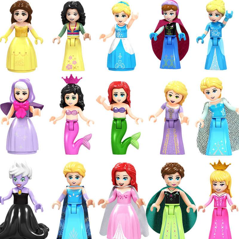 Bajka księżniczka miasto serii klocki kopciuszek biały śnieg lalki Anna Playmobil przyjaciele zabawki klocki dla dzieci
