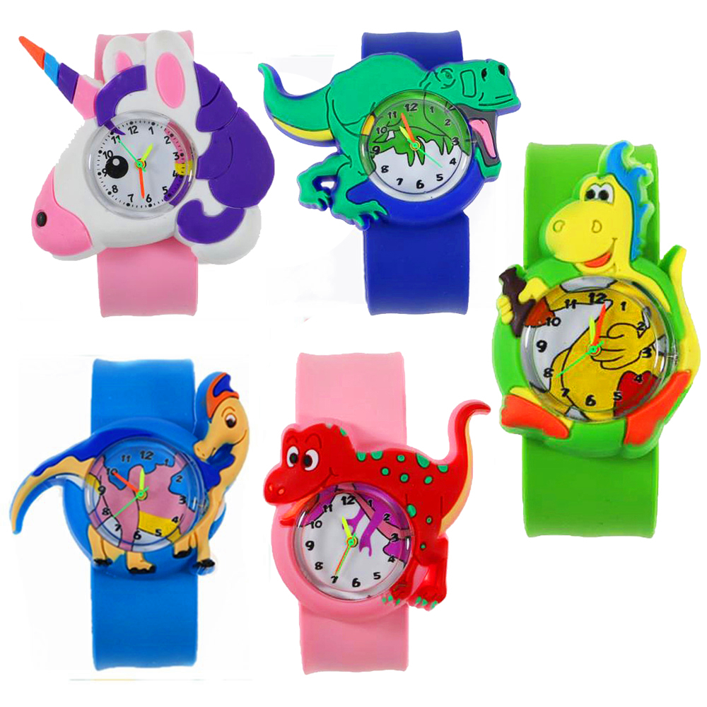 3D Dinosaur Kids Cartoon Watches Silicone Band Slap Watch Aquatic Animal Children Clock Creative Quartz Wristwatch Birthday Gift