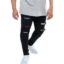 Mens Slim Black Jeans Pants Fashion Style Spring Summer Homme Clothing Hole Patch Casual Apparel