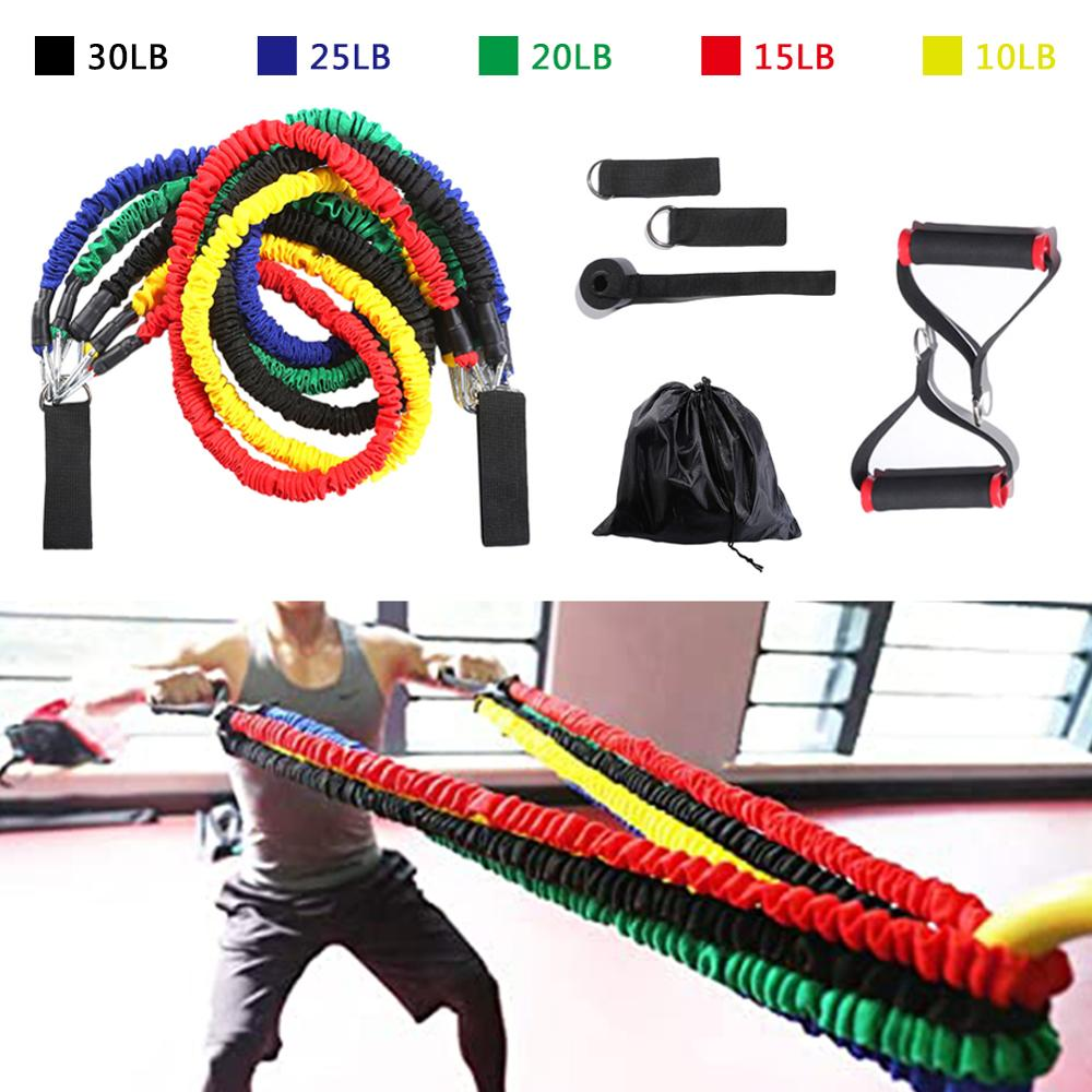 11pcs Resistance Bands Set Fitness Expander Exercise Equipment Rubber Tube 10lbs To 30lbs For Home Gym Yoga Work Out Pull Rope