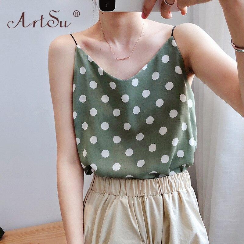 ArtSu Korean 2020 Casual Polka Dots Print Chiffon Tank Tops Sexy Women Green Black White Cami Crop Top Female Summer Vest Tops 1