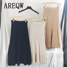 Autumn Winter Skirts for Women Knitted Soft Warm High Waist Skirt