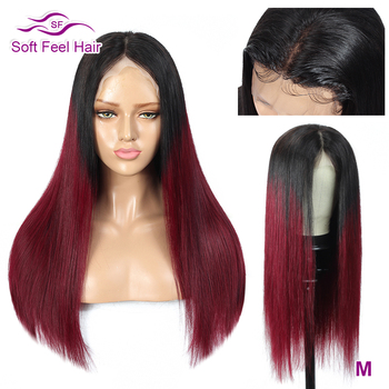 Soft Feel Hair Burgundy Lace Front Wig 13x4 Straight Ombre Human Hair Wig Remy Transparent Lace Front Wigs For Black Women 150%