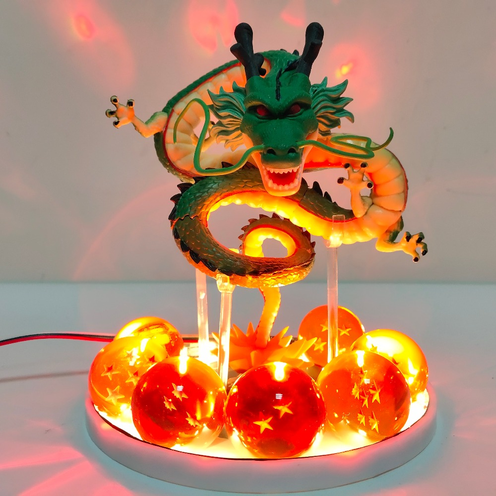 Anime Dragon Ball Z Shenlong Led Action Figures Night Lights Shenrou Crystal Balls Remote Control DBZ Figma Xmas Gift Toys Dolls