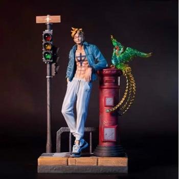 Una pieza, estatua de Marco, barba blanca, piratas, busto, pájaros muertos, largo completo, retrato Original Ver GK, figura de acción, caja de juguete, 40CM Q451