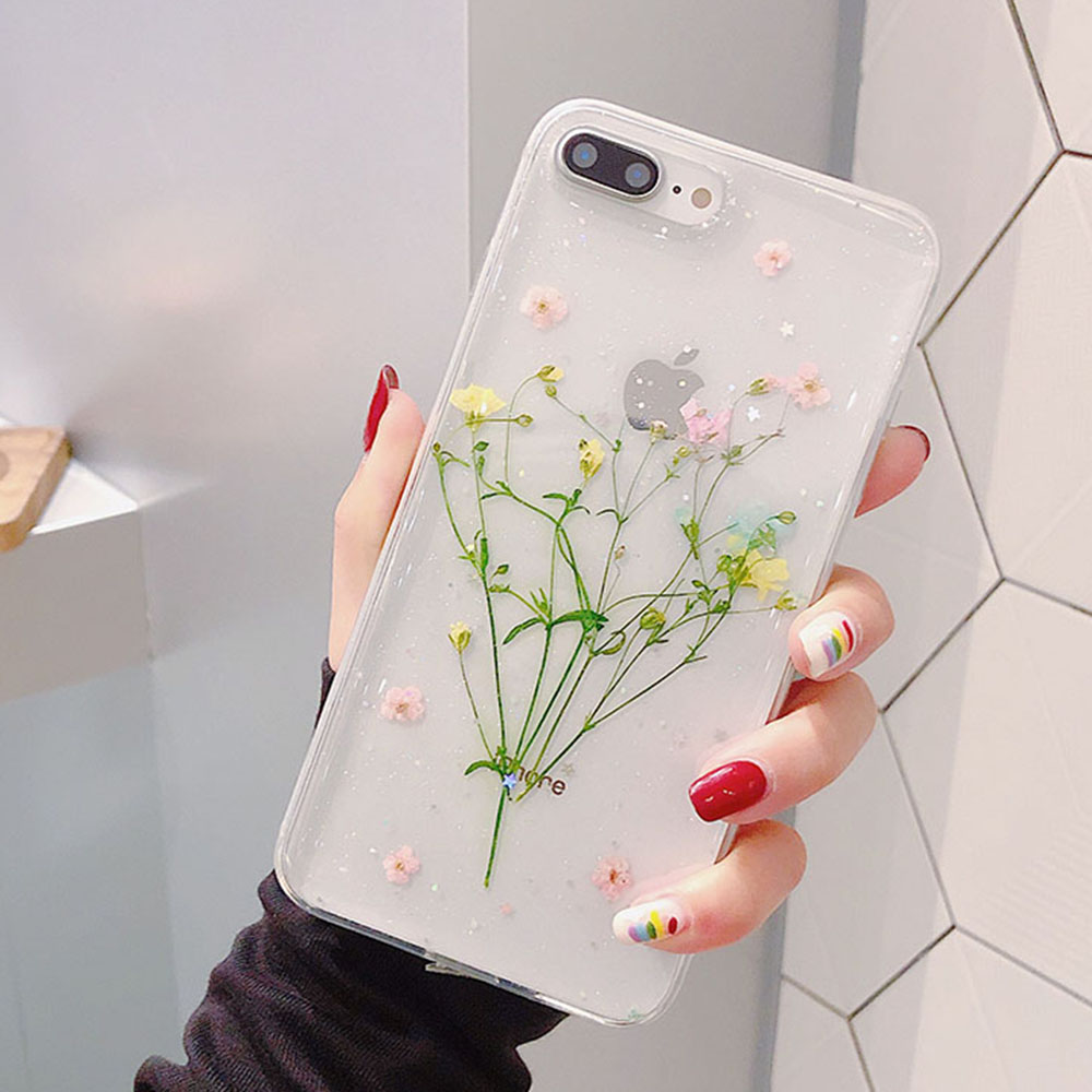 Real Flowers Dried Flower Case for iPhone 12 11 Pro XR XS MAX 7 8 Plus 6 6s Plus X Transparent Soft Handmade Floral Back Cover