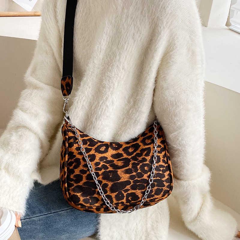 Pequeno preto náilon crossbody sacos para as mulheres 2019 simples leopardo impressão sela mensageiro bolsa de ombro bolsas femininas