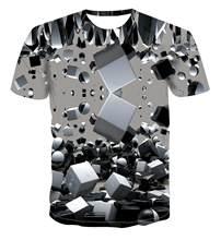 2020 scak sat yeni moda tirt geometrik kare T-shirt erkek T-shirt basit renk en 3D serin benzersiz gne kare