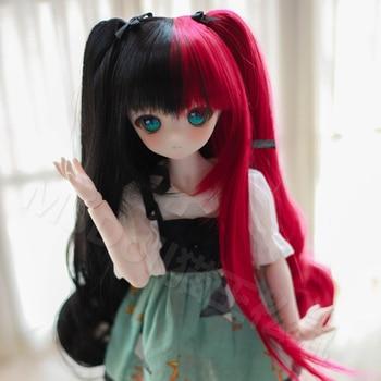 BJD doll wig 1/3 1/4 1/6 BJD DD SD MSD YOSD doll high temperature silk long hair red and black wig candy colors hat for 1 6 1 4 1 3 bjd dd sd msd yosd doll accessories