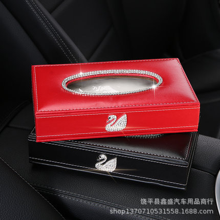 Swan Tissue Box Cover Car Paper Extraction Box Creative Car Decoration Accessories Diamond Set Cute Car Supplies Tissue Box