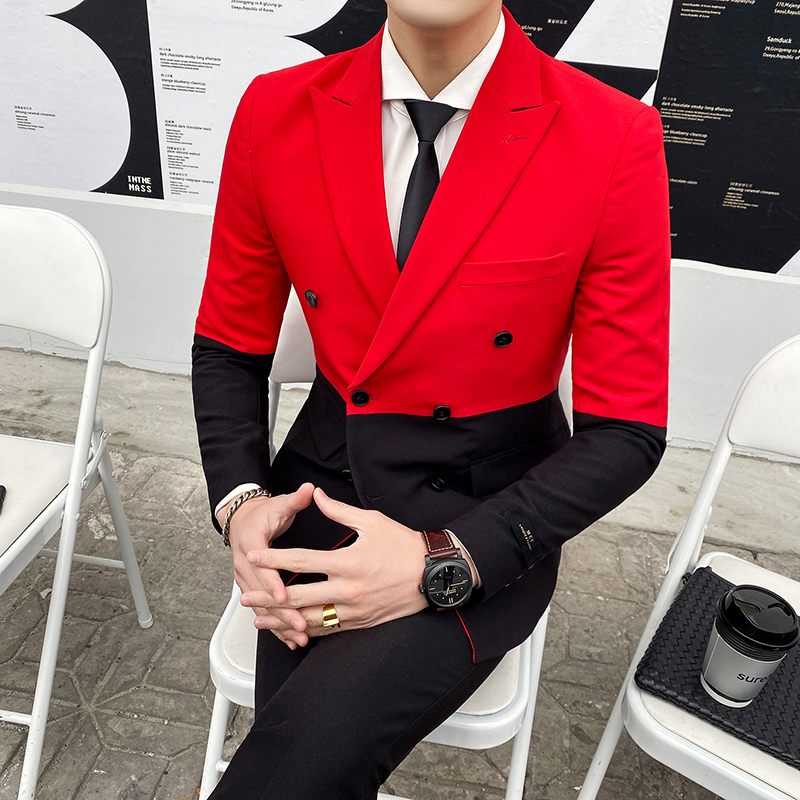 2020 Splice Contrast Party Suits Men Black Red White Men Slim Fit Suits Pant Prom Doube Breasted Suit Costume Homme Double Vent