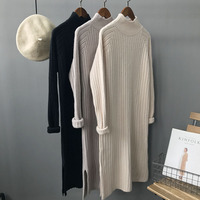 Autumn Winter Women Knitted Dress Half Turtleneck Sweater Dresses Lady Straight Bodycon Long Sleeve Bottoming Dress Vestidos