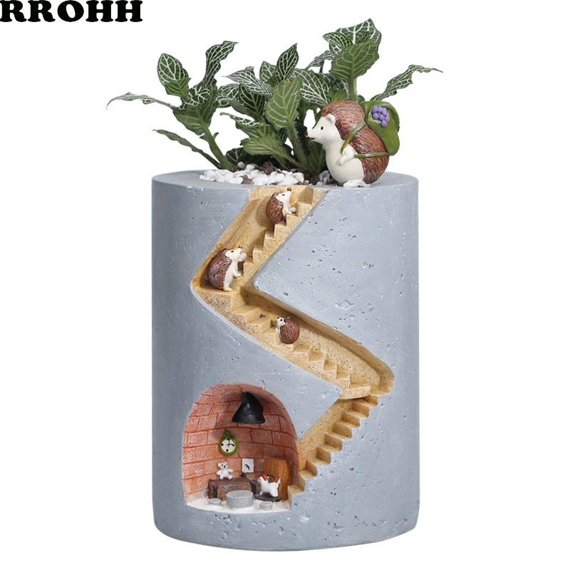 Creative Cartoon Animal Hedgehog Flower Pot Hydroponic Succulent Plant Pot Decoration Personality Micro Landscape Potted