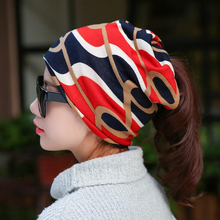 Scarf Hat Snapback-Cap Hip-Hop-Cap Spring Women Stripped Beanie Circle Autumn Multifunctional