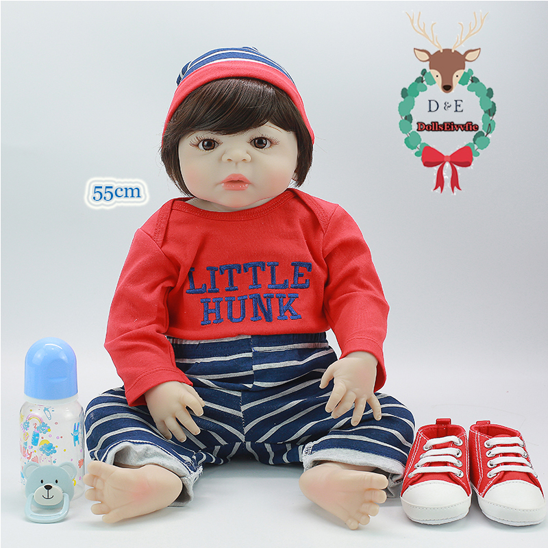 22 Inch Full Silicone Reborn Baby Boneca Short Hair Charm Doll  Brinquedos Best Reborn Toy For Boy Toy