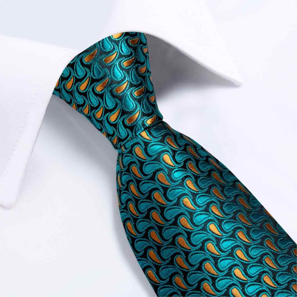 الرجال التعادل البط البري الأخضر بيزلي مخطط الجدة تصميم الحرير الزفاف التعادل للرجال Handky زر الكم هدية التعادل مجموعة DiBanGu حفلة الأعمال