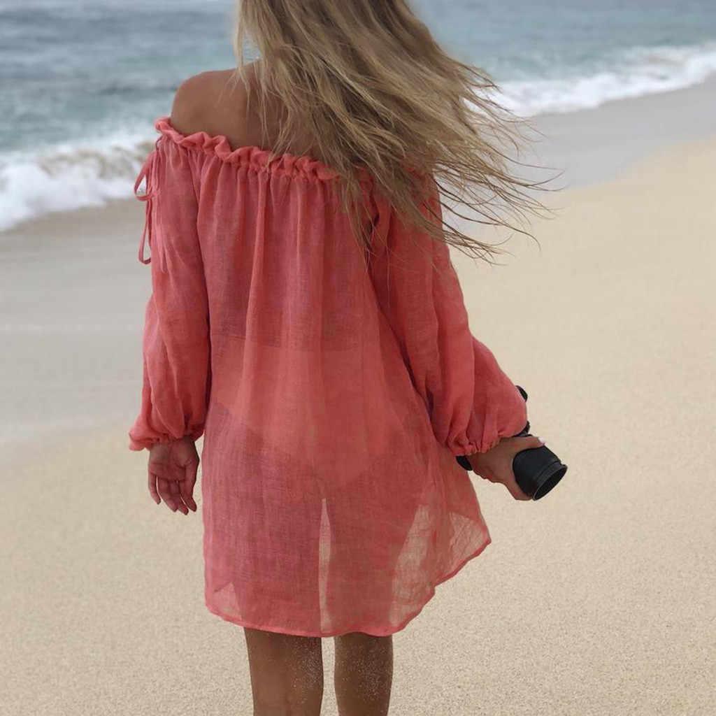 Sexy verano Casual sólido playa vestido mujeres Bikini cubrir traje De baño Kaftan playa desgaste fuera del hombro blusa Pareo Saida De Praia