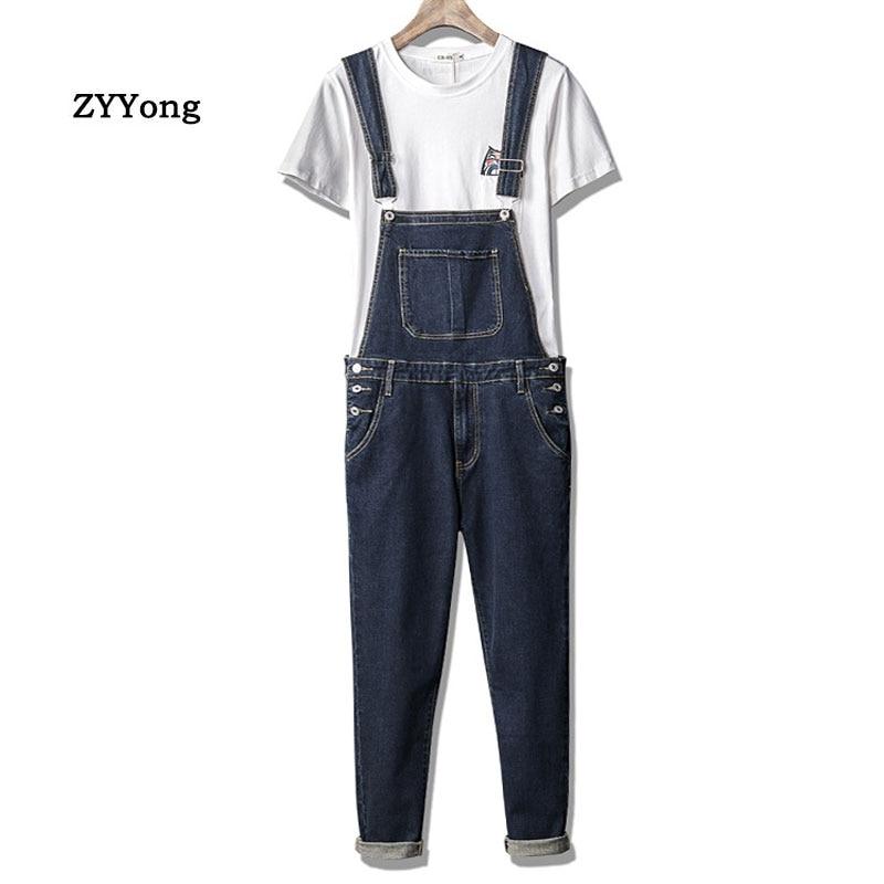 Man Jeans Bib Overalls Streetwear Hip Hop Hombre Denim Jumpsuits Leisure Trousers Dark Blue Large Size Freight Pants