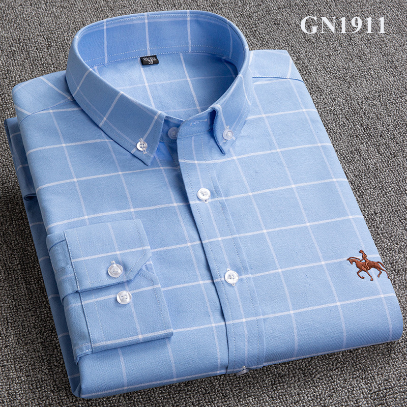 S-6XL Plus size New  OXFORD FABRIC 100% COTTON excellent comfortable slim fit button collar business men casual shirts tops 19