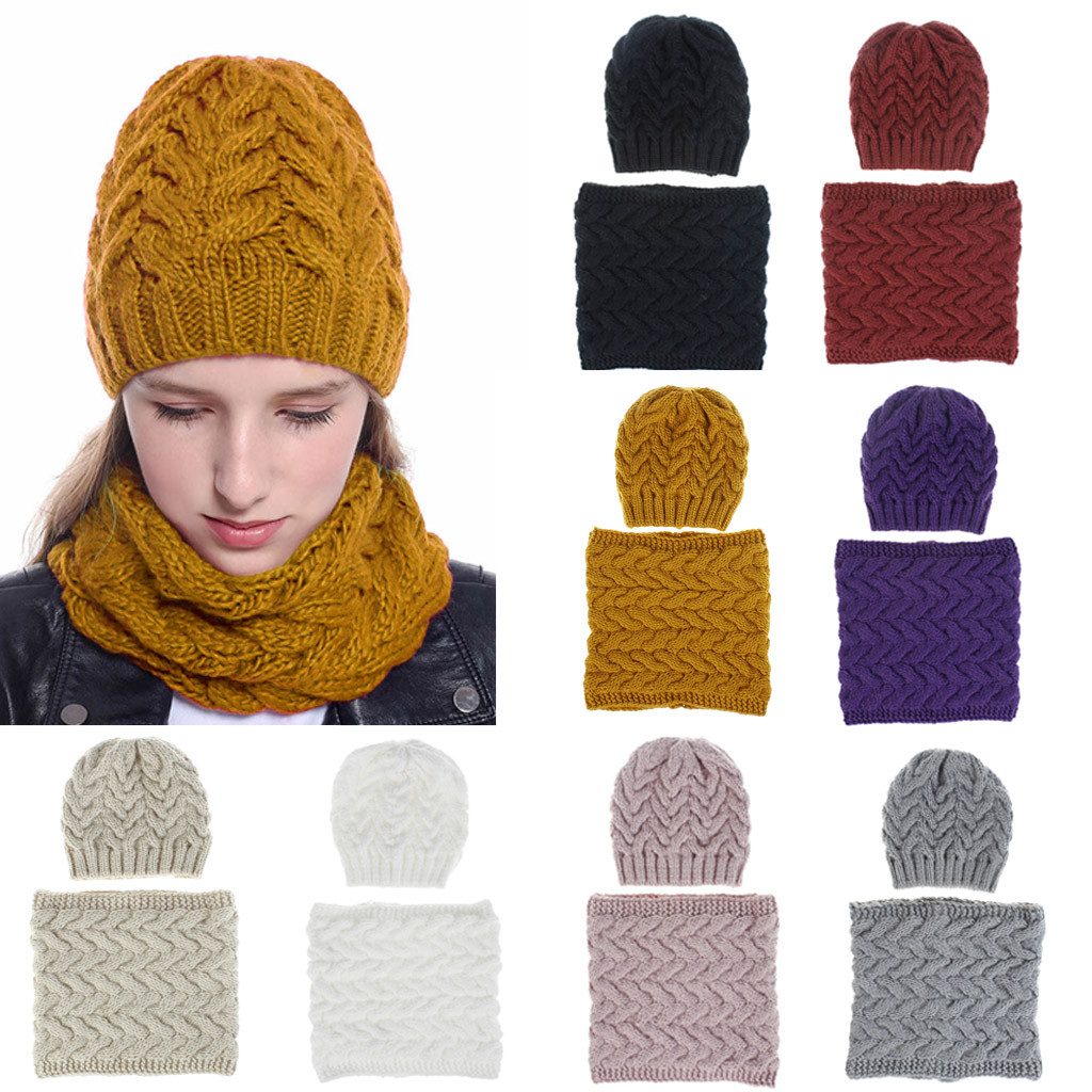 2019 New Women Girls Hat And Scarf Keep Warm Winter Casual Knitted Hat Hemming Hat Ski Hat Winter Hat Scarf Set Czapka Szalik