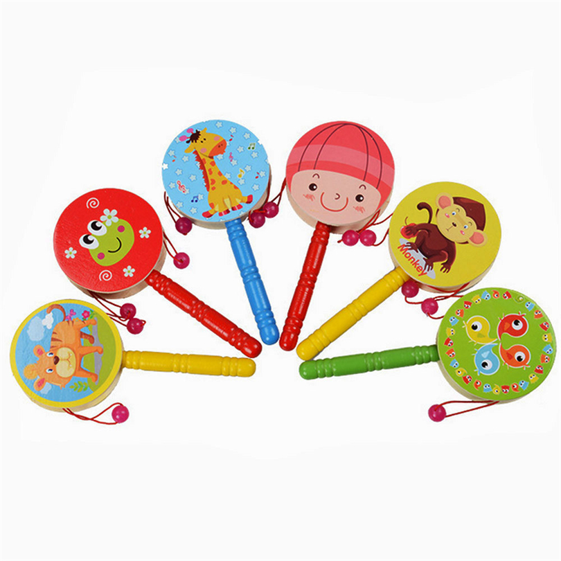 2019 Hot Selling Baby Rattles Wooden Rattle Pellet Drum Cartoon Print Musical Instrument Toy For Children Infant Kids Gift A50