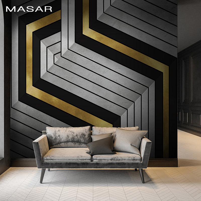MASAR Intensive Line Collage Geometric Styling Mural Kitchen Dining Room Living Room Background Wall Wallpaper Broken Line