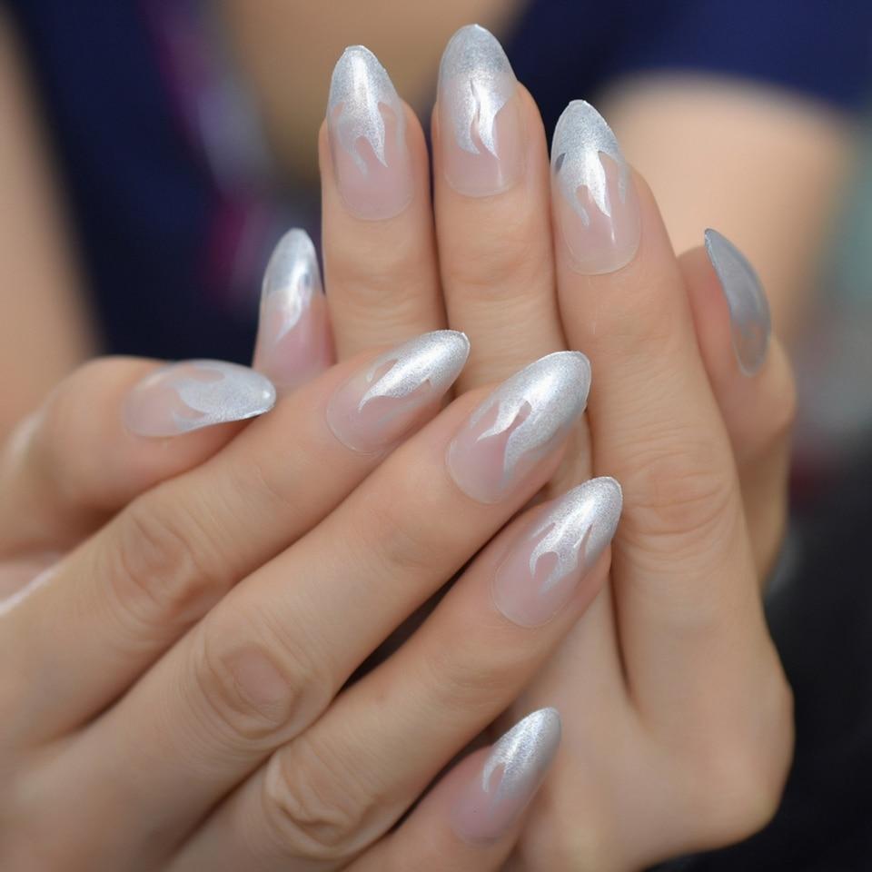 Silver Almond Fingernails Fire Translucent Sharp Good Looking Medium Unique Acrylic Nails Adhesive Nail False Nails Aliexpress