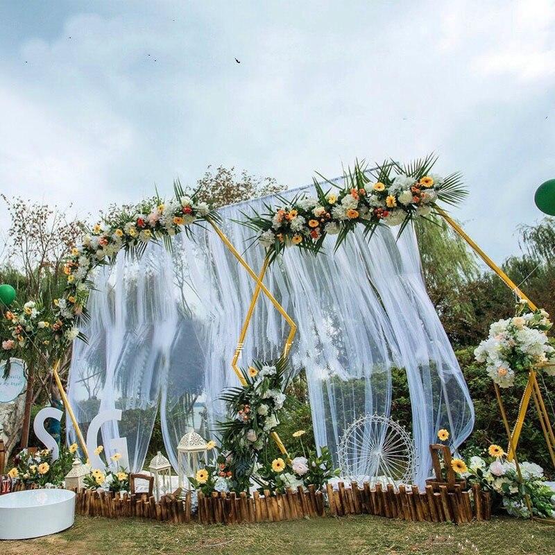 Adereços de casamento hexagonal ferro forjado arco quadro de fundo decoração do palco do casamento armação de ferro fontes do partido de aniversário de casamento