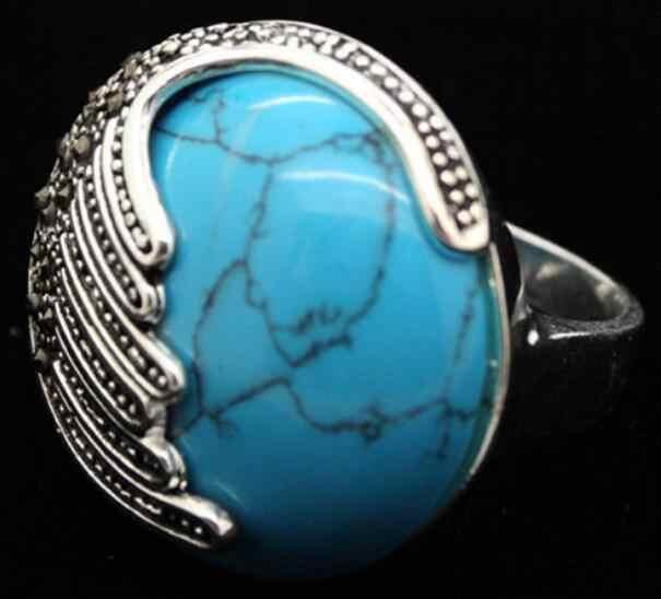 เครื่องประดับแหวนมุกขายส่งใหม่สีฟ้าหยกธรรมชาติ Marcasite ขนาดแหวนเงิน 925 ขนาด 7/8/9/ 10 จัดส่งฟรี