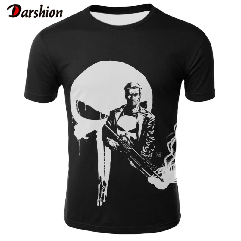 2019 Mens Skull Casual T Shirts Brand Punk Style 3D T-shirt Cool Fashion Men Tops Hip Hop Punisher T-shirt Dropshipping Plus 4XL