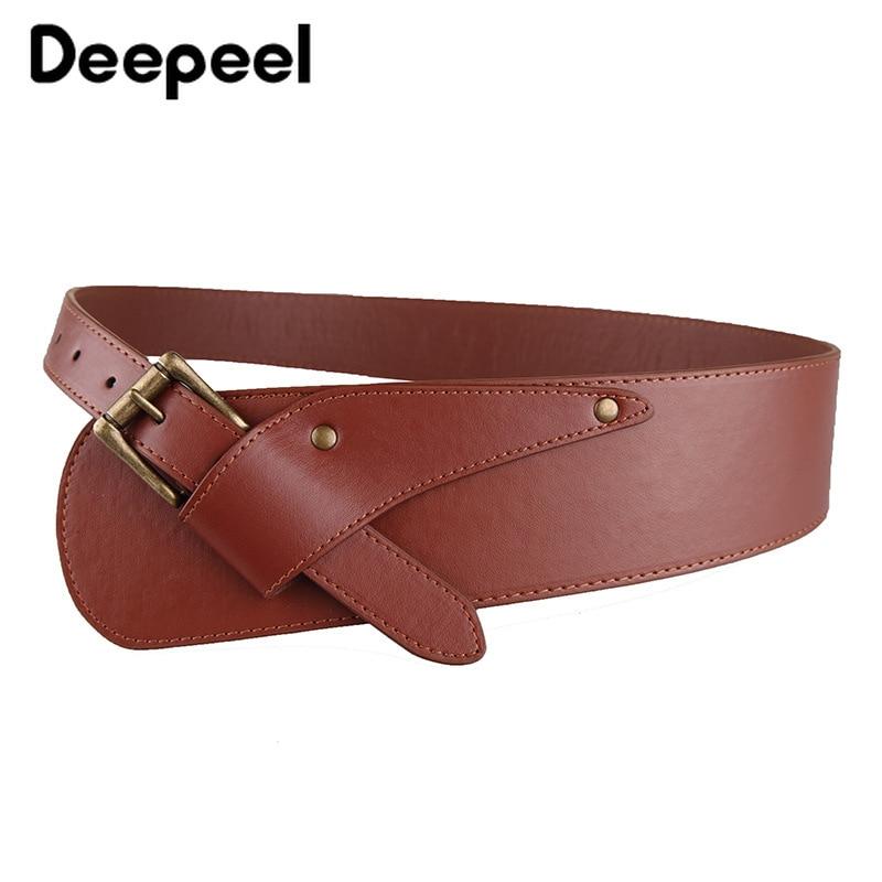 Deepeel 1pc 2-8cm*100cm Women PU Leather Cummerbund Retro Style Metal Square Buckle Rivet Wide Waist Belt Irregular Girdle YK759