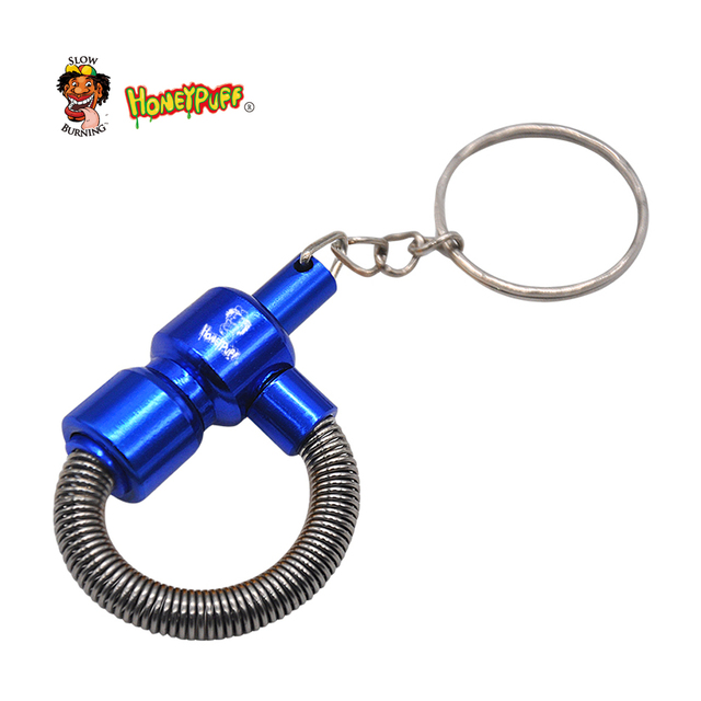 Honeypuff Metal Spring  Pipe Metal Portable Tobacco Pipe with Key Chain Cigarette Pipe  Accessories