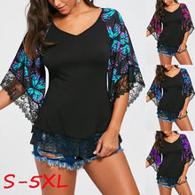 Женские блузки модная рубашка с принтом бабочки кружевные Сексуальные
