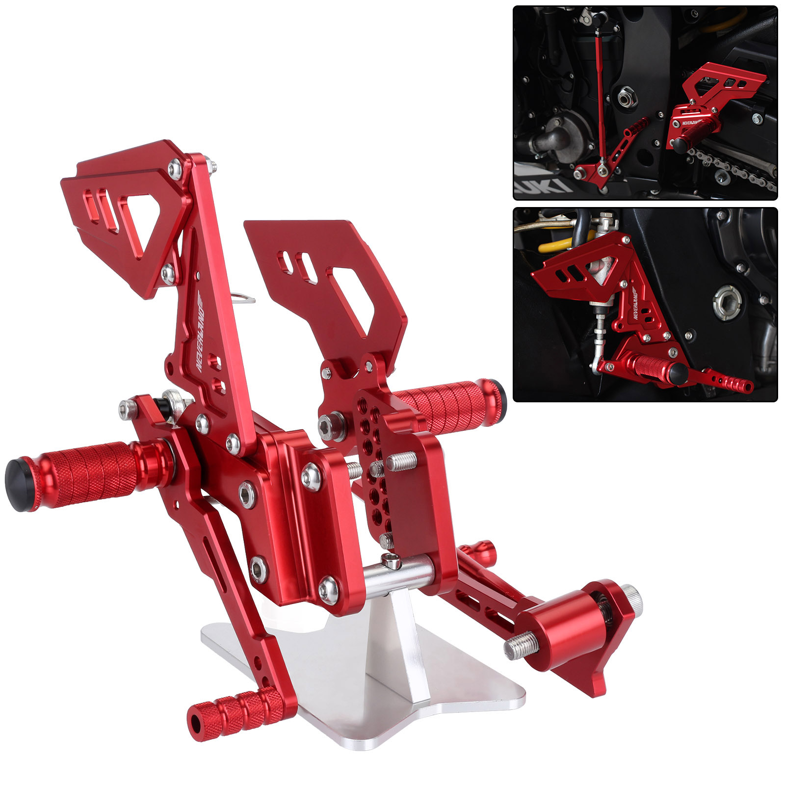 Red B Style Motorcycle Footrest Rear Foot Pedal Pegs Set For Suzuli GSX R 600 750 GSX-R GSXR D40