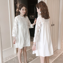 Lace Splicing White Maternity Blouses 2020 Summer Fashion Shirts Clothes for Pregnant Women Pregnancy Tops