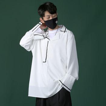 Dress Shirt Men's Fashion Casual Solid Color V-neck Pullover Shirt Men Streetwear Loose Korean Long-sleeved Shirt Mens M-5XL brown v neck long sleeves loose plunge t shirt dress
