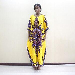 Image 5 - 2019 Nieuwste Arrivals Fashion Afrikaanse Dashiki Patroon Gedrukt O hals Batwing Mouwen Geel Puur Katoen Lange Jurken Voor Vrouwen