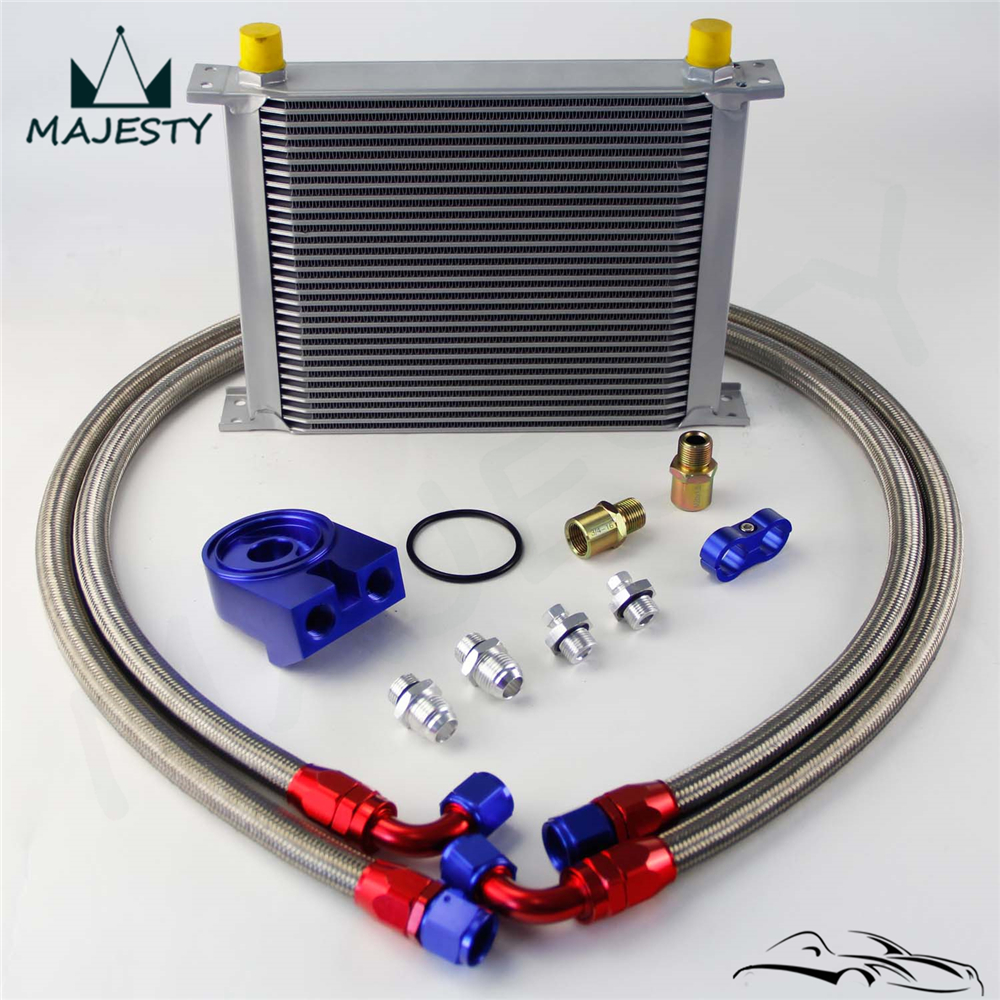 Filter Adapter Hose Kit Universal Silver Engine 30 ROW AN-10AN Transmission Oil Cooler