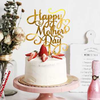 1pc Cake Decoration Acrylic Paper Happy Mother`s Day Topper for Gifts Cupcake Dessert Decor Party Supplies