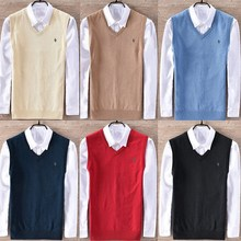 100% cotton vest men V collar autumn and winter business casual sweater 8501
