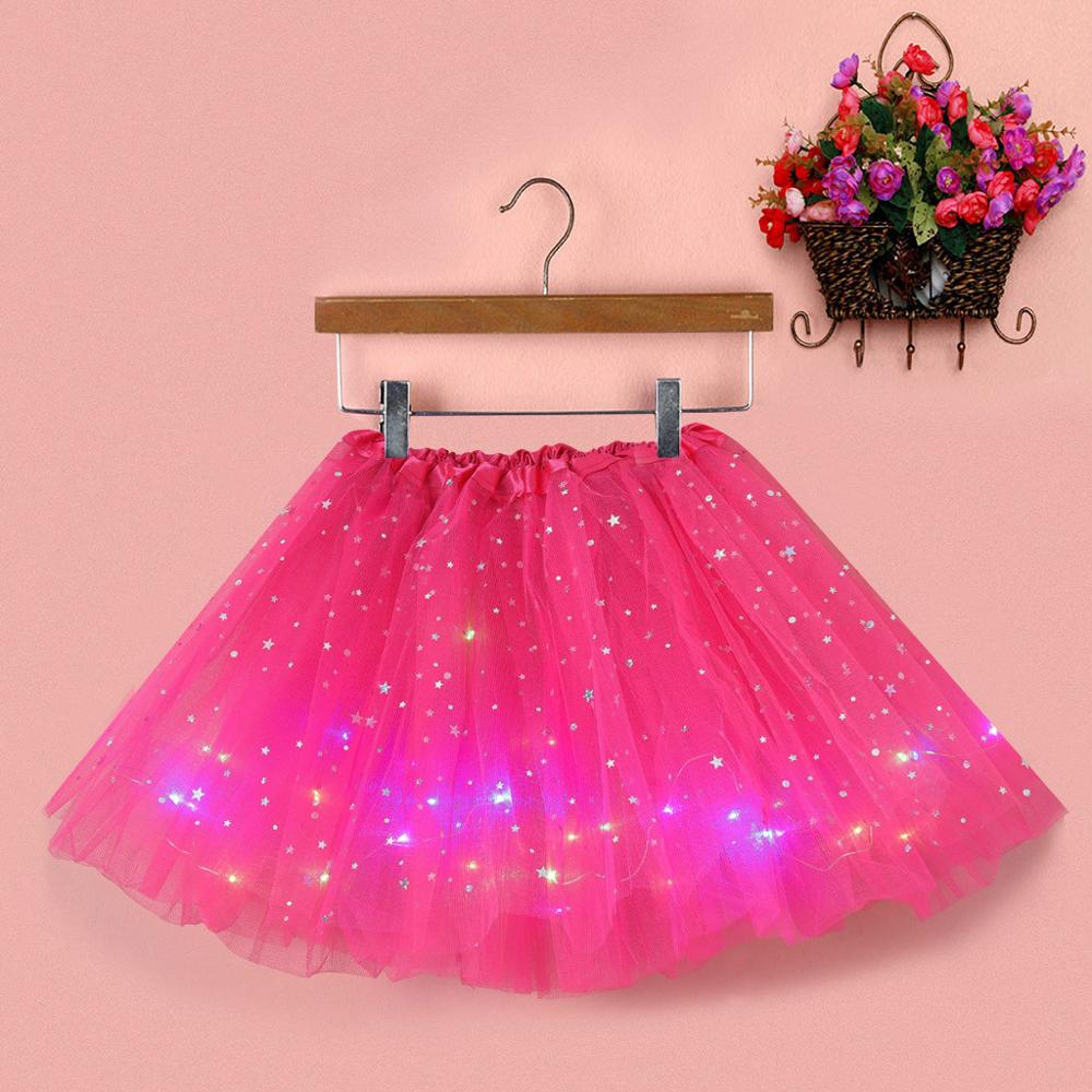 Women Star Sequins Mesh Skirt Pleated Tulle Princess Skirts With LED Small Bulb Female Korean Style Streetwear Sexy Tutu Skirt