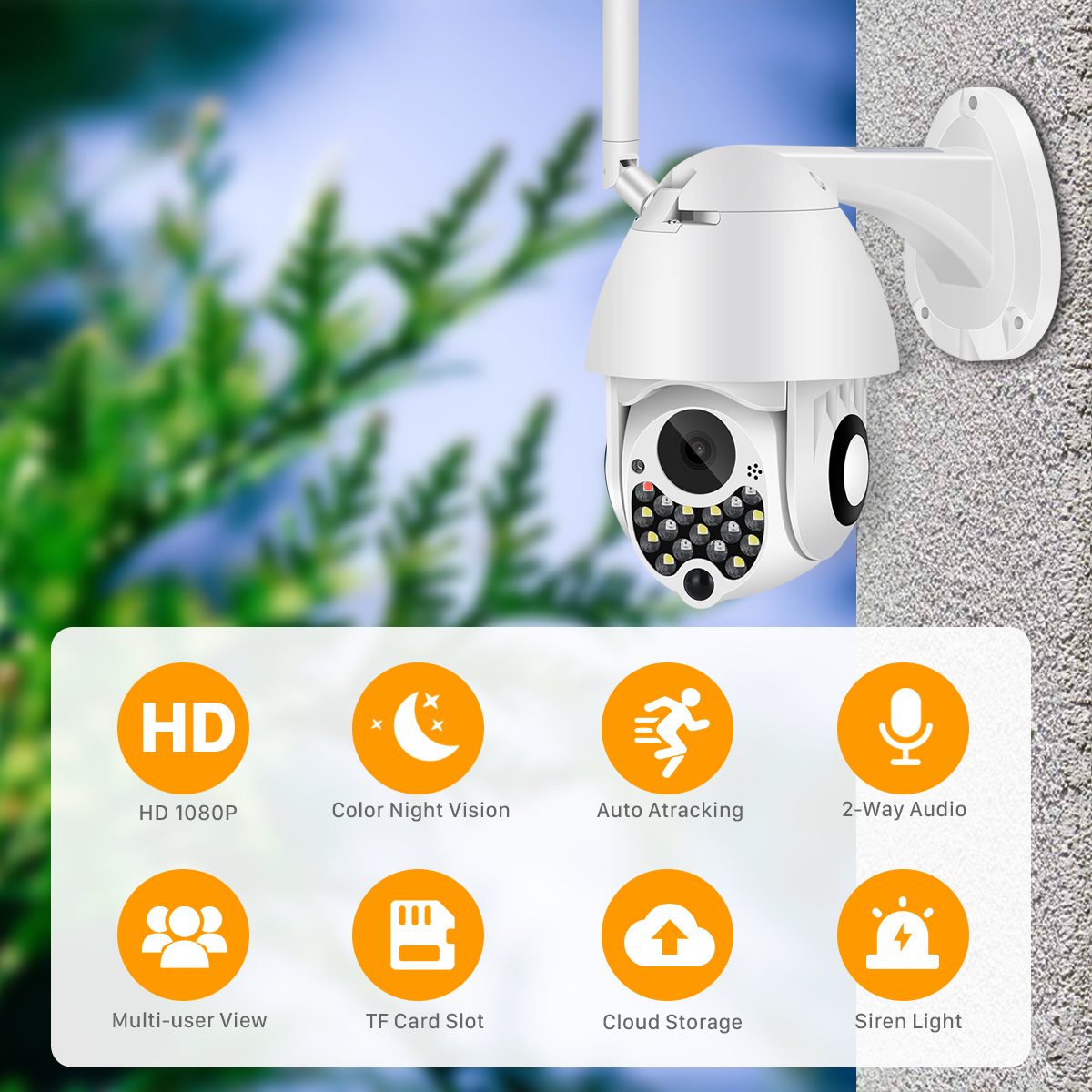 H761f9629ebd44ee7a73262cf70fedf99u 1080P Outdoor Wifi PTZ Camera with Siren Light Auto Tracking Cloud Home Security IP Camera 2MP 4X Digital Zoom Speed Dome Camera