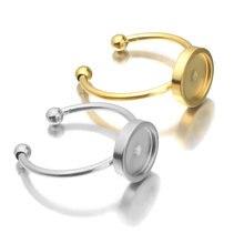 Ajustes ajustáveis de aço inoxidável do anel do ouro em branco/base 8/10/12mm cabochons de vidro, botões; joias de bezels do anel que fazem fontes